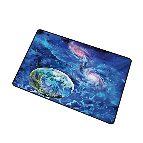 Diycon Fashion Door mat Constellation Exo Solar Planet Painting Style Vibrant Universe Awesome Space W35 xL47 Mildew Proof