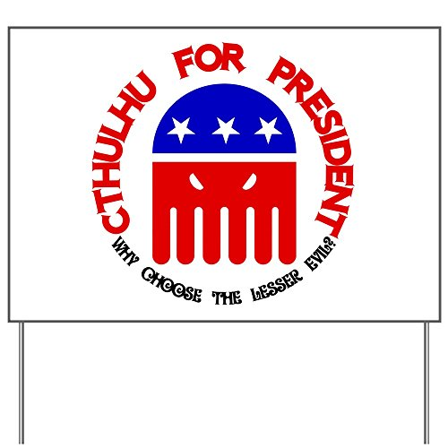 CafePress Cthulhu For President Yard Sign, Vinyl Lawn Sign, Political Election - Vinyl Little Cthulhu