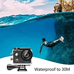 EKEN H9R 4K Action Camera, Full HD Wifi Waterproof Sports Camera with 4K/2.7K/ 1080P60/ 720P120fps Video, 12MP Photo and 170 Wide-Angle Lens, includes 18 Mountings Kit, 2 Batteries (Black)