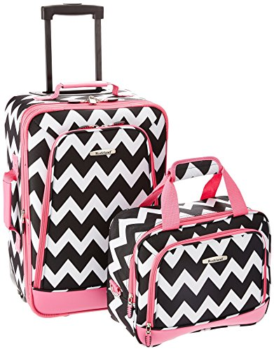 Rockland 2 Piece Expandable Luggage Set, Pink Chevron, One Size (Kids With On Luggage Carry Wheels)