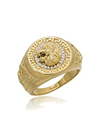 Men Rings,Gold Plated Lion Animal Big Size Men's Jewelry Rings,Full Size 7-8-9-10-11-12
