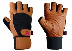 Valeo Machine Washable Ocelot Wrist Wrap Lifting Gloves With Slow Recovery Ergo Foam Padding For Superior Grip And Super Soft Durable Full-grain Leather With 3/4 Length Fingers