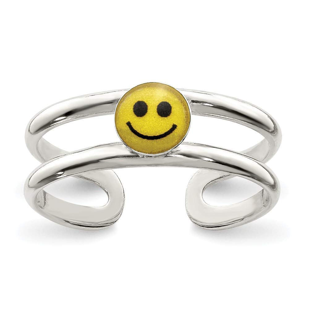 Sterling Silver Yellow /& Black Enameled Smiley Toe Ring