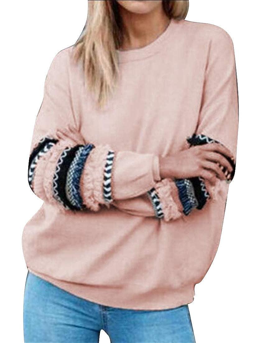 YYG Women Crew Neck Casual Patchwork Loose Long Sleeve Pullover Sweatshirt Top