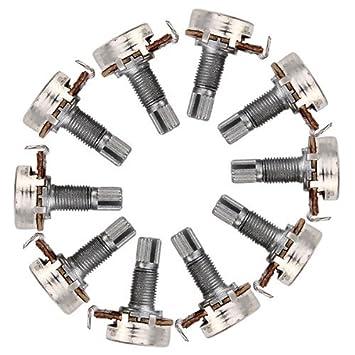 DN A10K Ohm Mini control de potenciómetro para la guitarra eléctrica Pot Volumen (Pack de 10): Amazon.es: Instrumentos musicales