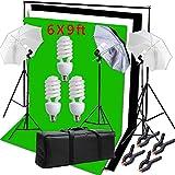 Hakutatz Photography Photo Studio Video Umbrella Lighting Kit 3pcs 45W Light Bulbs Lighting with 3 Muslin Backdrop(Green/White/Black) Backdrop Stand Set Kit for Video Studio Portrait Photography Kit