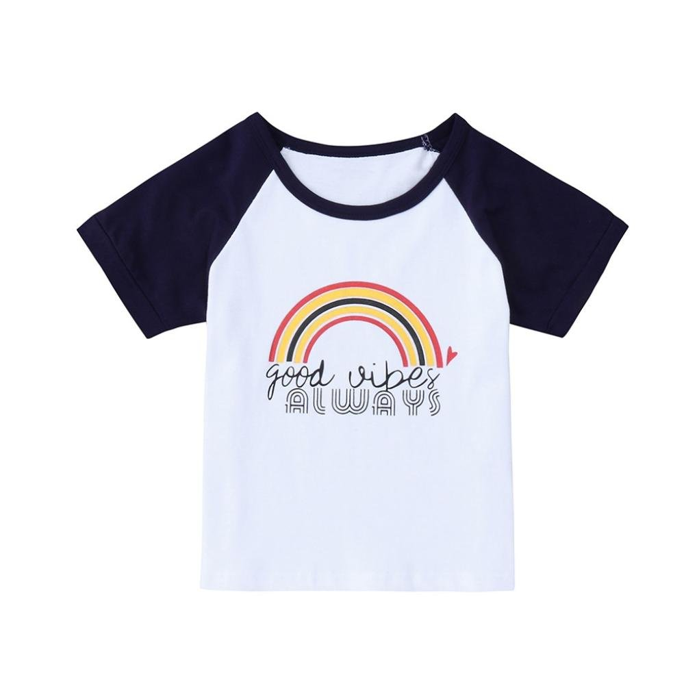 WARMSHOP Kid Boys Pretty Rainbow Letter Print Short Sleeve Patchwork Casual Daily T-Shirt Blouse Clothes