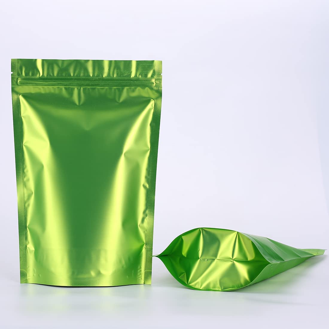 QIQIDAI 50Pcs Stand Up Mylar Food Storage Aluminum Foil Bags ,Foil Bags with Label sticker Packing Zipper Lock Resealable