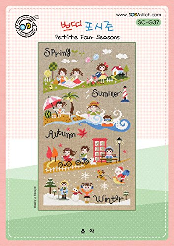 SO-G37 Petite Four Seasons, SODA Cross Stitch Pattern leaflet, authentic Korean cross stitch design chart color printed on coated - Motif Sampler Autumn