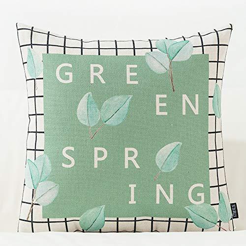 ARAYACY Covered Cushion, Green Cotton Hug Pillowcase Lumbar Pillow Car Cushion Office Sofa Pillow Bed Backrest,PillowE ()