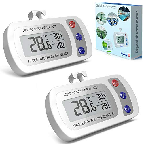 Digital Fridge Refrigerator Thermometer - Fridge/Freezer/Room Thermometer With Hook,Waterproof Large LCD Display Max/Min Record, for Kitchen, Home, Restaurants (2Pack, Battery Included)