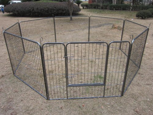 BUNNY BUSINESS Heavy Duty Puppy Play Pen/Rabbit Enclosure 8 Panels, Large, Gunmetal Grey by BUNNY BUSINESS