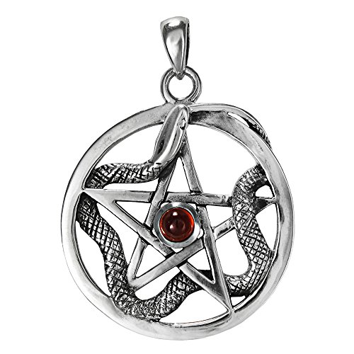 Sterling Silver Ouroboros Serpent Snake Pentacle with Natural Garnet