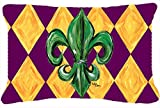 Caroline's Treasures Mardi Gras Fleur De Lis Purple Green & Gold Fabric Decorative Pillow, Large, Multicolor