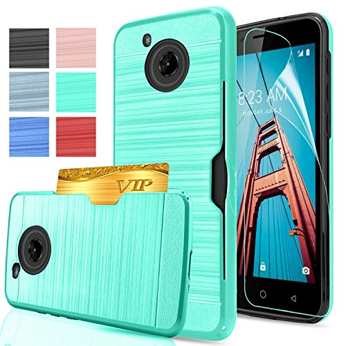 Moto E4 Case [Fit US variant (XT1768)] With HD Screen Protector,AnoKe[Card Slots Holder] TPU Soft Hybrid Shockproof Heavy Duty Protective Wallet Cases for Motorola Moto E (4th Generation) KC2 Mint