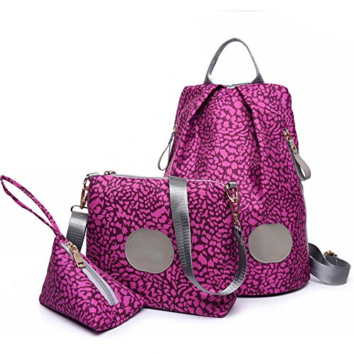 QXMEI Mme Backpack Imprimé Sac à Bandoulière étudiant En Trois Parties Pink