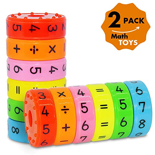 (CHILHOLYD Magnetic Math Toy, 2 Sets/ 12 Pieces Magnetic Numbers and Symbols Math Skills Colorful Fridge Magnets Kindergarden Educational Tools Math Blocks Learning Toys for)