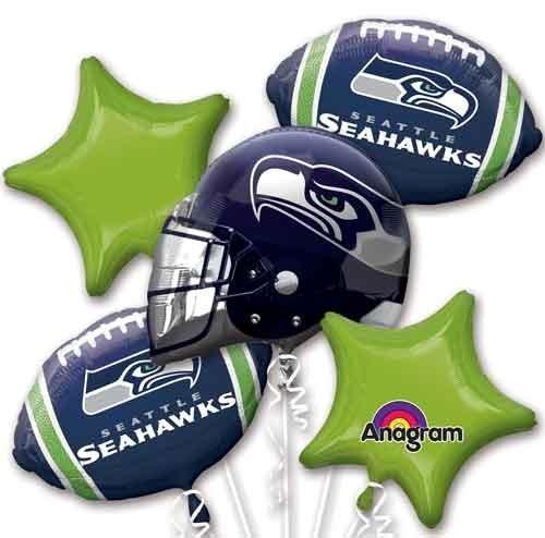 Five Balloon Bouquet Pack Seahawks Balloon