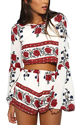 Ayliss Women Chiffon Two Piece Outfit Long Sleeve Backless Bohemian Crop Top and Short Set,M White ()