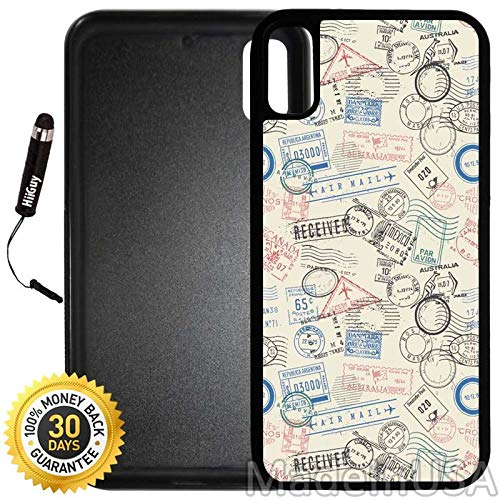 - Custom iPhone X/XS Case (Postage Air Mail Pattern) Edge-to-Edge Rubber Black Cover with Shock and Scratch Protection   Lightweight, Ultra-Slim   Includes Stylus Pen by INNOSUB