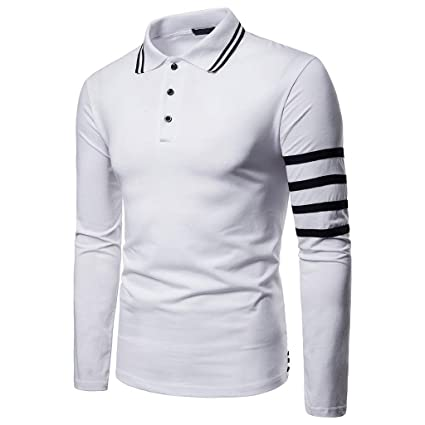 ca0000a9 Amazon.com: Mens Fashion Polo Shirts Striped Long Sleeve Casual Slim Fit  Basic Sport Polo T-Shirts: Kitchen & Dining