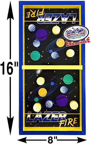 Mattys Toy Stop Deluxe Wood Tabletop Neon Lazer Space Pinball /& Neon Lazer Space Fire Fast-Track Games Gift Set Bundle 2 Pack