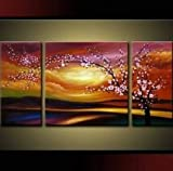 Santin Art – Plum Tree Blossom 100% Hand Painted Abstract Wall Art Sets Painting for Home Decoration Oil Painting. 3 Piece Frame Art Picture