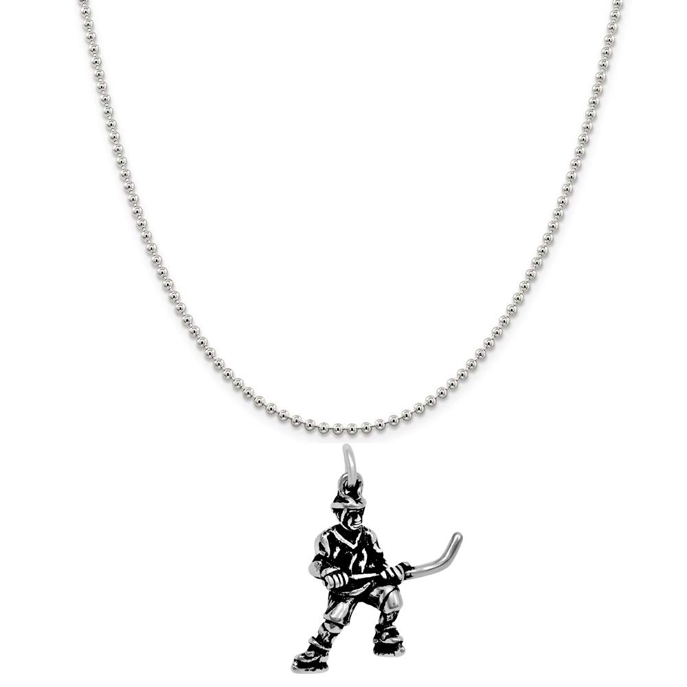 Raposa Elegance Sterling Silver 3D Hockey Player Charm Necklace 16, 18 or 20 Chain