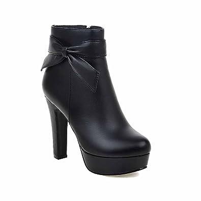 AllhqFashion Damen Ziehen auf Rund Zehe Wasserdicht Plattform Niedrig-Spitze Stiefel, Weinrot, 34