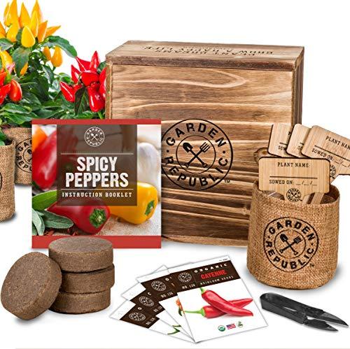Indoor Garden Pepper Seed Starter Kit - 4 USDA Organic Hot Peppers Seeds for Planting, Pots, Planter Box, Scissor, Plant Markers - DIY Grow Your Own Vegetable Herb Growing Kits, Vegan Gardening Gifts (Kit Starter Gardening)