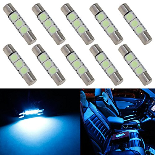 Partsam 10pcs Ice Blue 28mm 29mm Festoon 3-5050-SMD LED Bulbs for Car Interior Sun Visor Vanity Mirror Lights 6614 6641 (2004 Honda Crv Sun Visor compare prices)