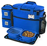 Dog Travel Bag - Week Away Tote for Med and Large Dogs - Includes Bag, 2 Lined Food Carriers, Placemat, and 2 Collapsible Bowls (Royal Blue)
