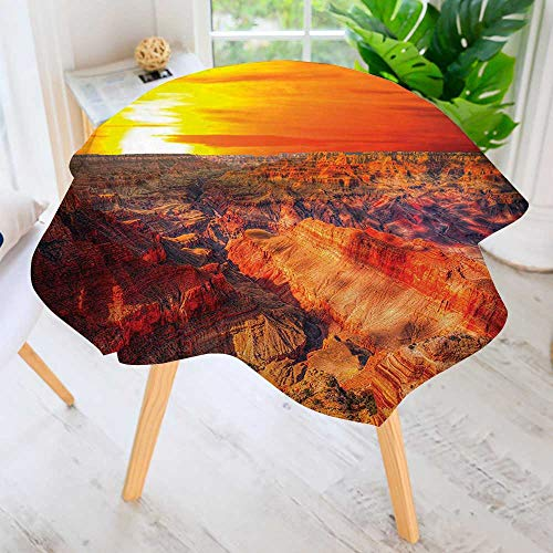 "aolankaili Round Tablecloth-Horizon Overview Unique Grand Canyon Saturated withColor Effects Orange Waterproof Wine Tablecloth Wedding Party Restaurant 59"" Round"