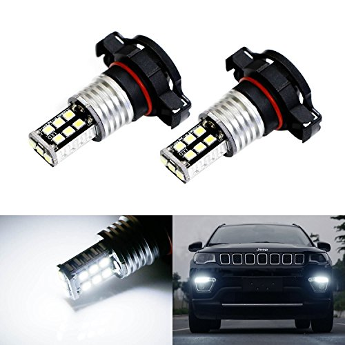 iJDMTOY (2) Xenon White 15-SMD High Power LED Replacement Bulbs For 2017-up Jeep Compass Daytime Running Lights (Compass Bulb Jeep)