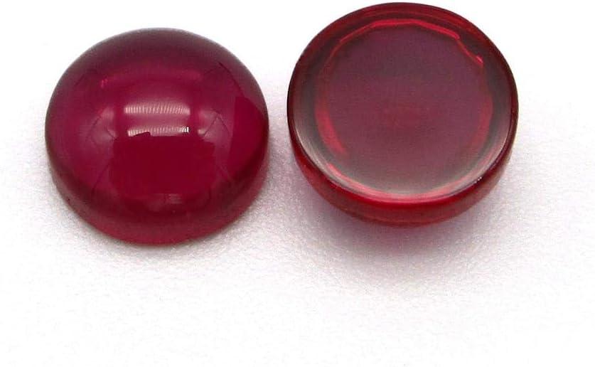 DHJFKSKH HS 3.0~10mm 5# Redondo Convexo Redondo Redondo Plano Sintetico Corindón Joyas de Piedras Preciosas, 10mm-50pcs