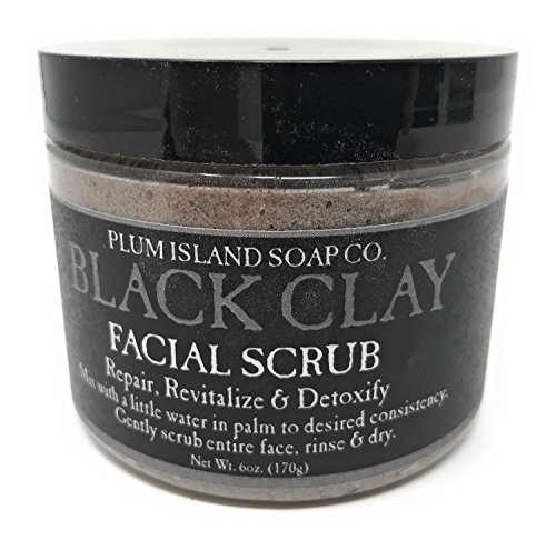Plum Island Soap Company Black Clay Gentle Exfoliating Facial Scrub Cleanser - 6 Ounce Jar