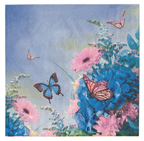 40 Count Paper Napkins, Designed Butterfly Prints Cocktail Napkins, Serviettes Napkins for Weeding, Dinner and Party, Paper Luncheon Napkins 2-Ply, 13x13 Inch, (Butterfly, 01) ()