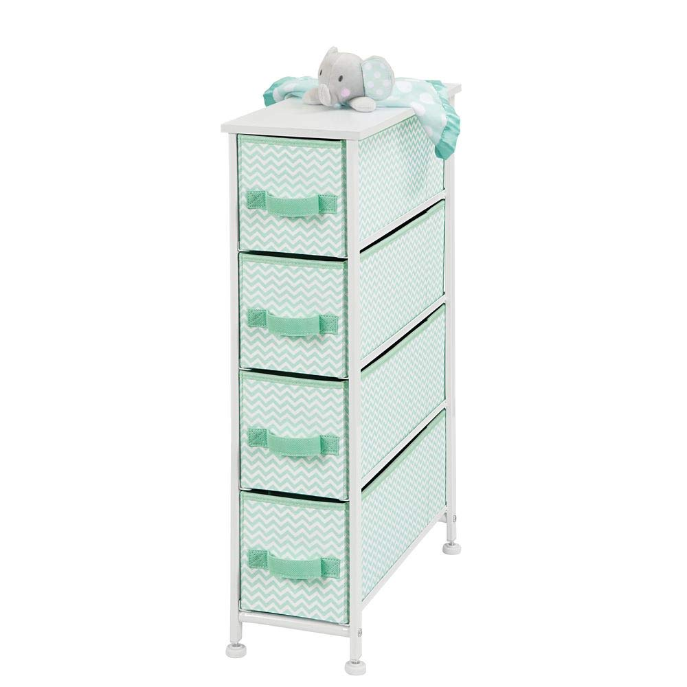 mDesign Narrow Vertical Dresser Storage Tower Furniture - Metal Frame, Wood Top, Easy Pull Fabric Bins - for Kid's Bedroom, Hallway, Entryway, Closet, Dorm - Chevron Print, 4 Drawer - Mint Green/White