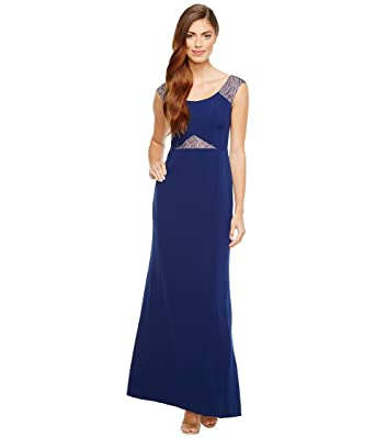 739e8d320bec5 Aidan Mattox Womens Crepe and Lace Gown at Amazon Women s Clothing ...