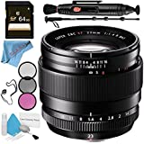 Fujifilm XF 23mm f/1.4 R Lens 16405575 + 62mm 3 Piece Filter Kit + 64GB SDXC Card + Lens Pen Cleaner + Fibercloth + Lens Capkeeper + 70in Monopod + Deluxe Cleaning Kit Bundle