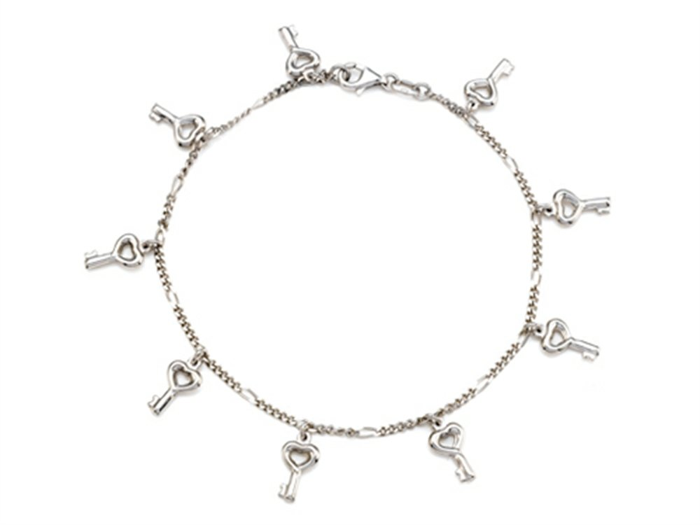 Finejewelers Sterling Silver 10 Inches 8 Keys Ankle Bracelet