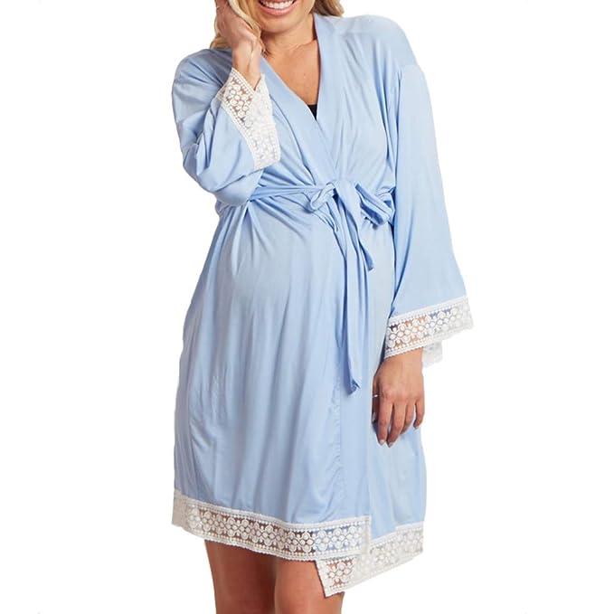 Yying Maternidad Ropa de Dormir de Encaje Costura Pijamas Vestidos para Mujeres Embarazadas Elegantes enfermería Camisones Ropa de Embarazo: Amazon.es: Ropa ...