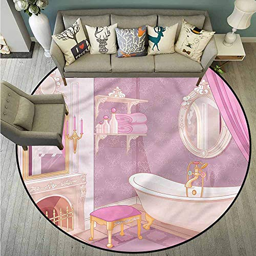Round Carpet,Teen Girls,Royal Palace Bathtub,Large Area mat,5'3