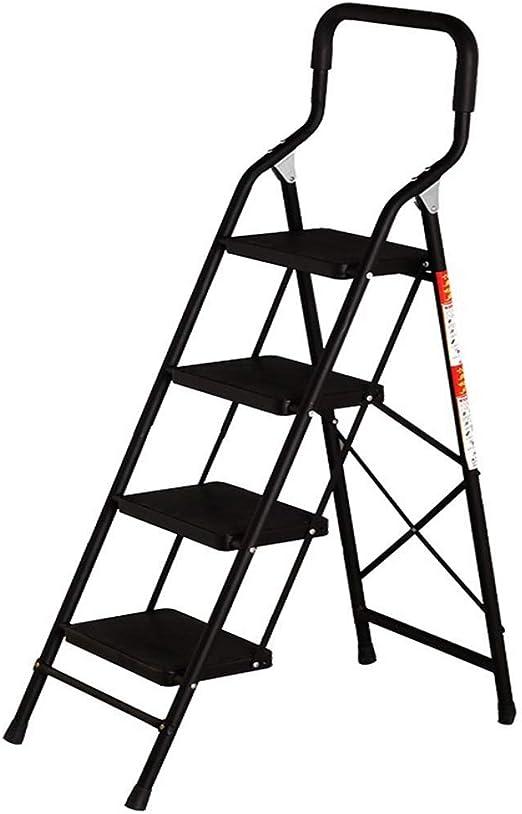 QI-shanping Escalera Plegable de 4 Pasos Escalera Plegable 4 Escaleras con Escalera con empuñadura Antideslizante y Pedal Ancho Escalera de Acero Resistente 330lbs / Negro/Rojo (Escalera de 4 etapas: Amazon.es: Hogar