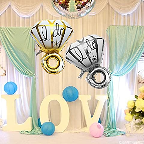 Big Diamon Ring Aluminum Foil Balloon I DO Balloons Proposal Valentine Wedding Party Decoration - Aqua Stripe Wall Sconce