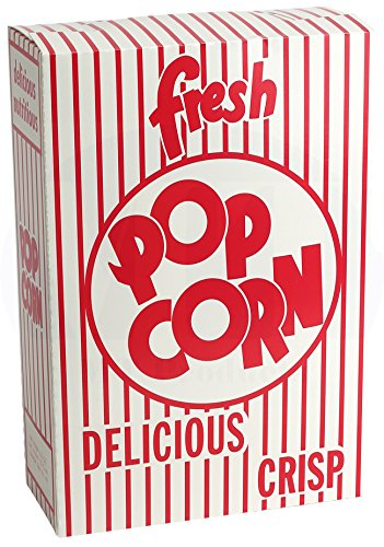 Large Popcorn Boxes (MT Products 2.8 oz. Close-top Cardboard Disposable Theater/Stadium Popcorn Box - 50)