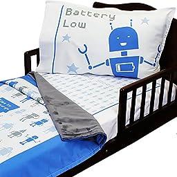 3pc RoomCraft Bedtime Bots Toddler Bedding Set Blue Robots Blanket Sheet and Pillowcase Set