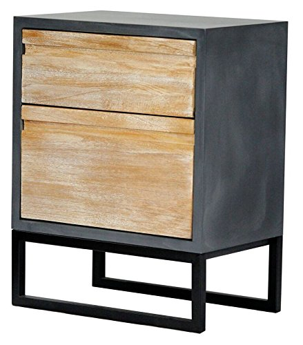 Heather Ann Creations The Nova Collection Modern Style Wooden Entry Way 2 Drawer Living Room Accent Cabinet, Grey and White Wash