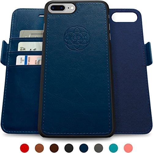 Dreem iPhone 7 & 8 PLUS Wallet Case with Detachable SlimCase, Fibonacci Luxury Series, Vegan Leather, RFID Protection, H/V Stands, Gift Box - Dark Blue