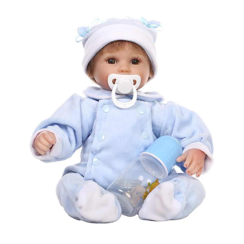 bluee Danigrefinb Newborn Baby Toys, 16inch Handmade Vinly Silicone Lifelike Reborn Baby Doll Kids Pretend Play Toy, Cloth + Silicone, 40cm  bluee